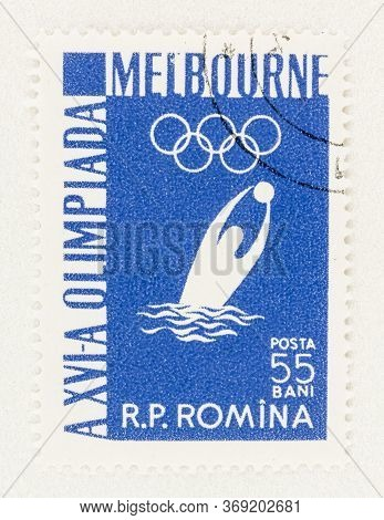 Seattle Washington - May 27, 2020:  Water Polo Player On Romanian Stamp, Commemorating The 1956 Summ