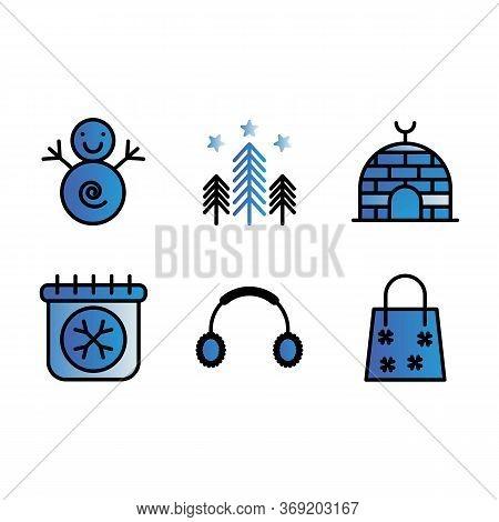 Basic Vector Winter Icon Include Snow Man,forest Star,eskimo,calendar,earphone,bag