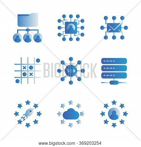 Basic Vector Search Engine Optimization Icon Include Share Document User, Core User,mail Circuit,gam