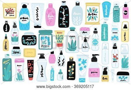 Vector Set Of Isolated Cosmetic Products. Natural Cosmetics. Beauty Care. Flat Hand Drawn Elements I