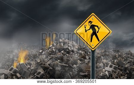 Riot And Rioting As Civil Disorder Social Issue Concept As A Street Sign With A Rioter Or Violent Pr