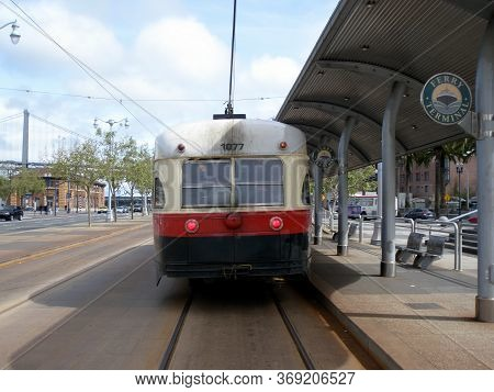 San Francisco - May 4, 2009: F-line Number 1077, Built 1947,  Parked At The Ferry Terminal, This Car