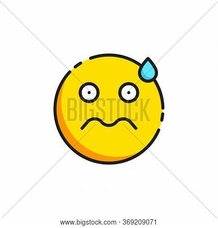 Worried Face Emoticon Vector Icon Symbol Isolated On White Background