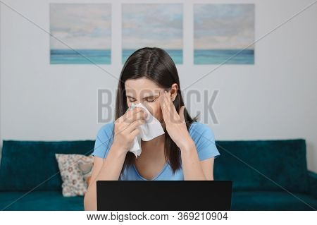 Sick Allergic Woman Wiping Running Nose Got Flu Virus Coughing, Seasonal Allergy Symptoms At Workpla