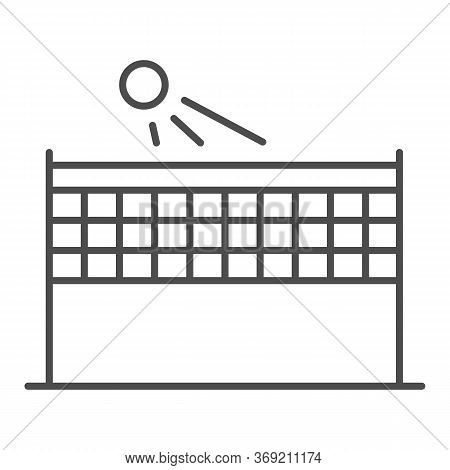 Beach Volleyball Thin Line Icon, Summer Sport Concept, Volleyball Net With Ball Sign On White Backgr