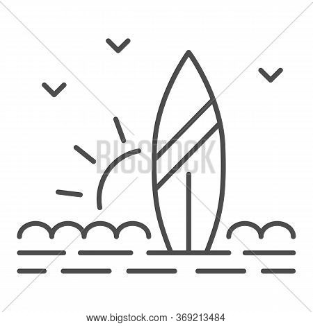 Surfboard And Beach With Sunset Thin Line Icon, Summer Concept, Surf Sign On White Background, Surfb