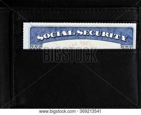 United States Social Security Card Inside Of Leather Wallet