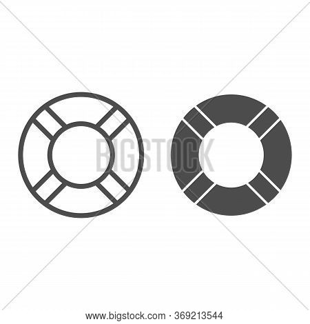 Lifebuoy Line And Solid Icon, Summer Concept, Lifesaver Sign On White Background, Life Saving Ring I