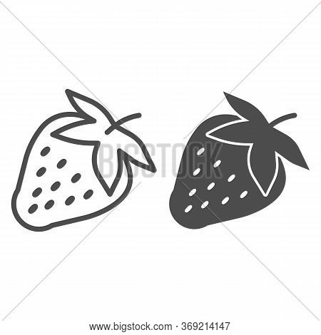 Strawberry Line And Solid Icon, Fruits Concept, Strawberries Sign On White Background, Ripe Strawber