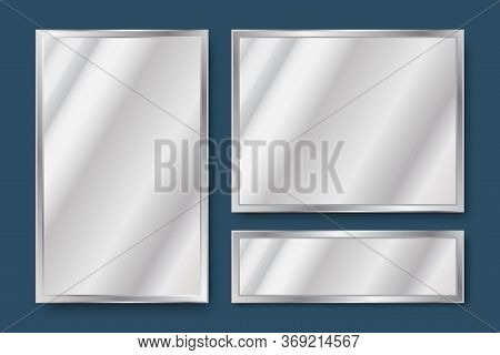 Realistic Vector Image Of Mirrors. Background Set Of Glass Textures. Rectangular Screens With Reflec