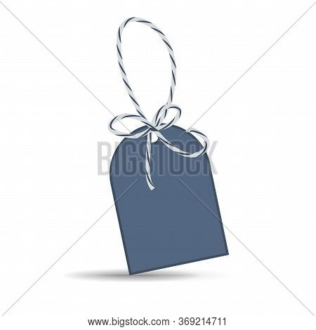 Label With Ribbon On A White Background. Empty Life Label, Price Tag With Twine. Stock Photo.