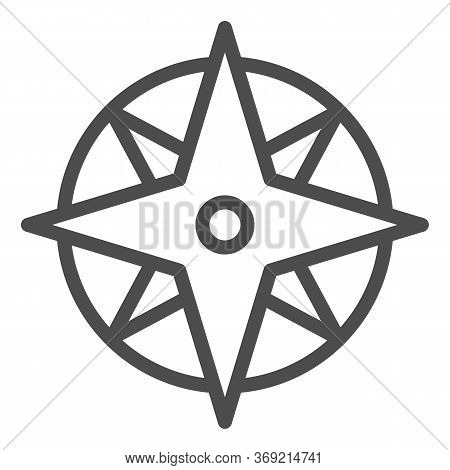 Compass Line Icon, Navigation Concept, Wind Rose Sign On White Background, Oldstyle Wind Rose Compas