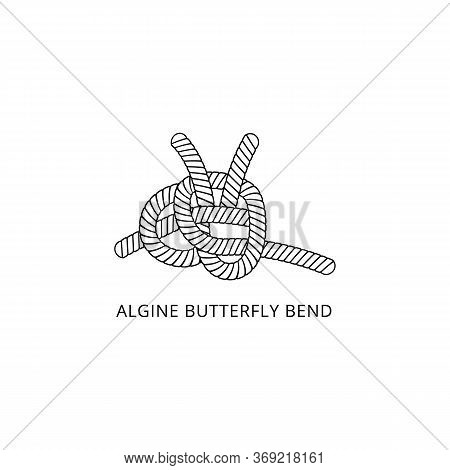 Algine Butterfly Bend Nautical Rope Knot Thin Line Vector Illustration Isolated.