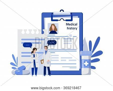 Medical History Concept. Doctors Woman And Man Explore Patient Medical History, Card With Illnesses.