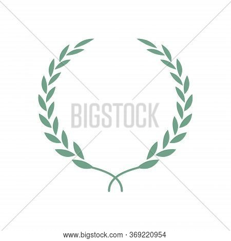 Laurel Wreath Isolated Illustration. Laurel Leaves Symbol Of High Quality Olive Plants. Trendy Flat