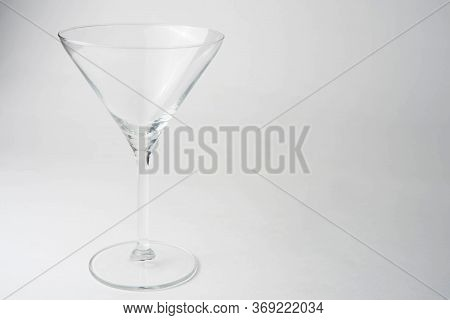 Empty Glass Martini Glass White Background, Cocktail Glass