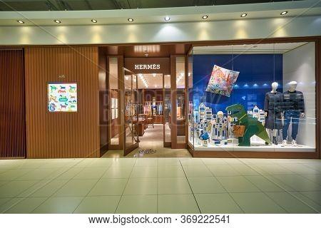 BANGKOK, THAILAND - CIRCA JANUARY, 2020: Hermes storefront in Suvarnabhumi Airport.