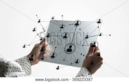 Double Exposure Concept Of Human Resources Management. Digital Marketing And Analytics In Virtual Sc