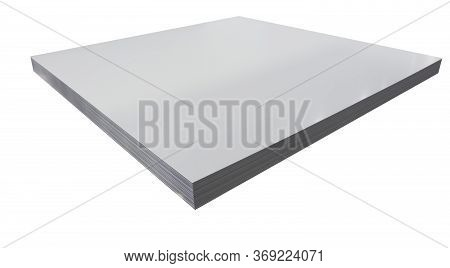 Stack Of Steel Sheets ; Ready To Use ; Stock ; For Laser Cutting ; Isolated White