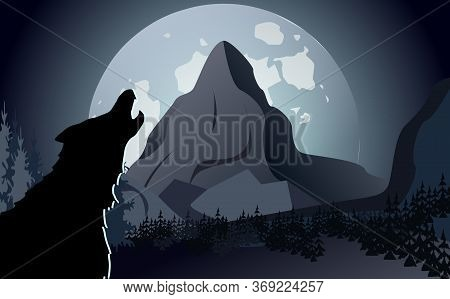 Night Landscape With A Howling Wolf On A Background Of The Moon And Mountains. Design Template For P