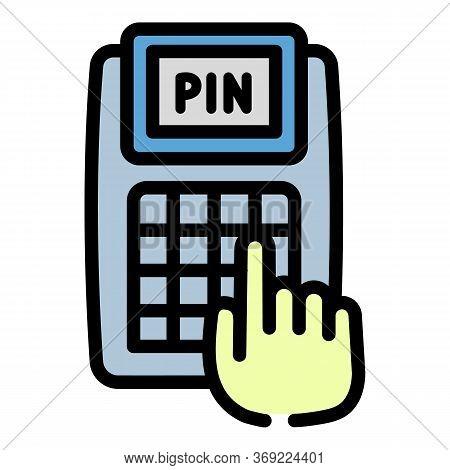 Enter Pin Terminal Icon. Outline Enter Pin Terminal Vector Icon For Web Design Isolated On White Bac