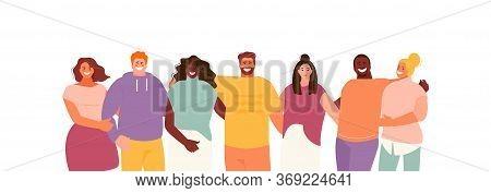 Group Of Hugging Multiethnic People. Friendship And Youth Vector Characters