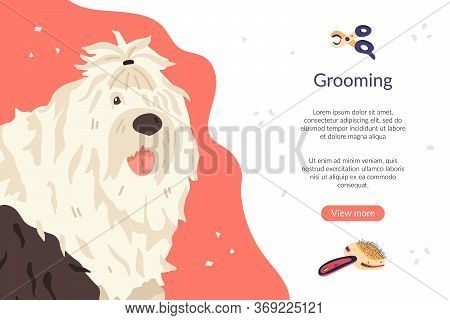 Landing Page Template With Bobtail Dog Breed And Tools. Pet Care Banner For Grooming Salon And Pet S
