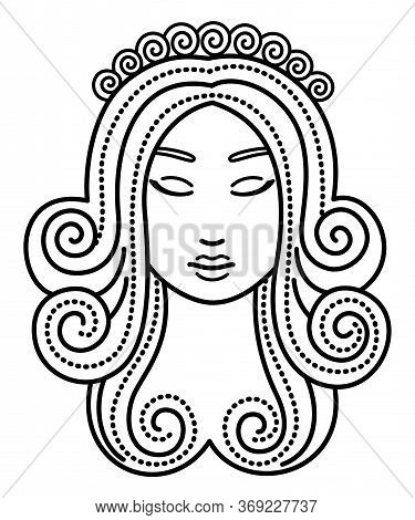 Sixth Astrological Sign, Virgo Associated With Constellation. Beautiful Woman Face. Myths View This