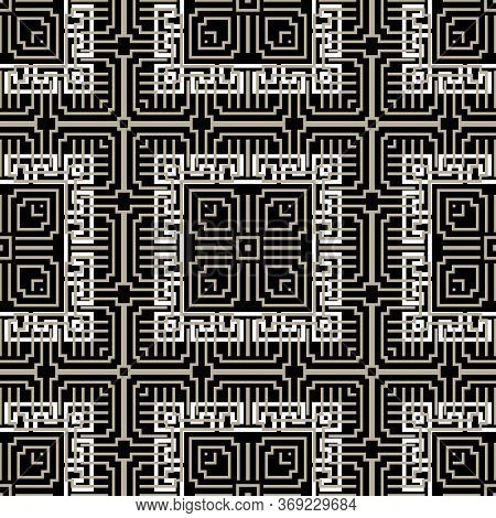 Geometric Greek Vector Seamless Pattern. Abstract Tribal Ethnic Style Background. Repeat Symmetric O