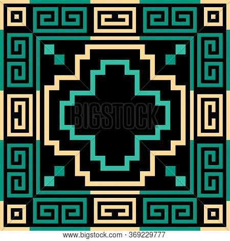 Geometric Greek Vector Seamless Pattern. Abstract Tribal Ethnic Style Background. Repeat Colorful Or