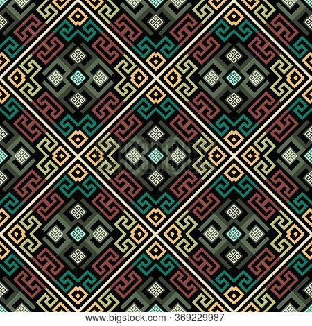 Geometric Greek Vector Seamless Pattern. Abstract Tribal Ethnic Style Background. Repeat Colorful Wa