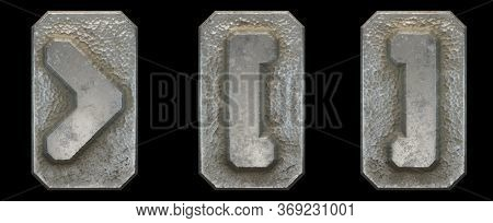 Set of symbols right angle bracket, left and right square bracket made of industrial metal on black background 3d rendering