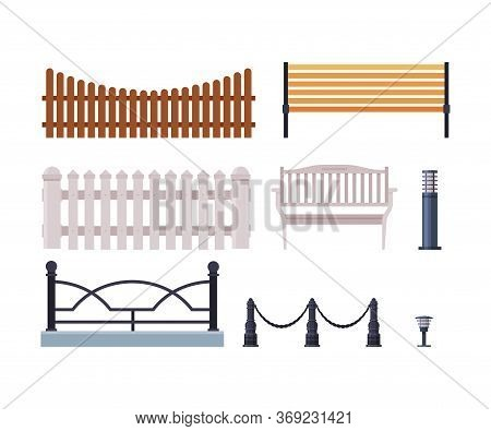 Decorative Fences Collection, Wooden, Wrought Iron Fence, Urban Infrastructure Design Element, Flat