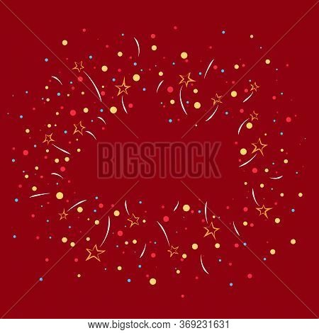 Bright Holiday Background, Fireworks And Stars With Colorful Snowballs On A Red Background, Empty Sp