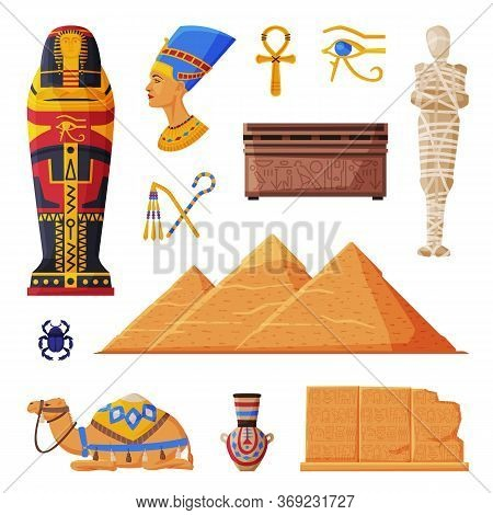 Ancient Egypt Collection, Egyptian Cultural And Historical Symbols Flat Style Vector Illustration On