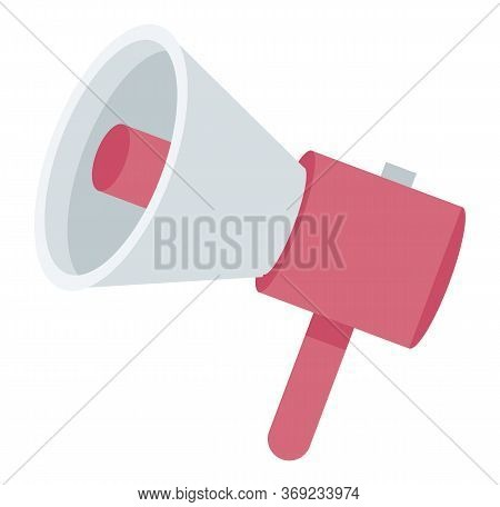 Medical Loudspeaker In Red Color, Announcement Equipment In Flat Design Style. Spread Of Information