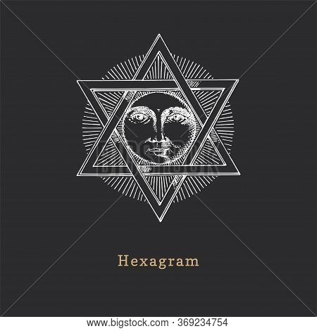 Pentagram And Sun, Vector Illustration In Engraving Style. Vintage Pastiche Of Esoteric And Occult S