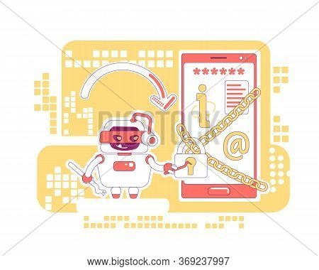 Hacker Bot Thin Line Concept Vector Illustration. Stealing Personal Account Data And Content. Bad Sc