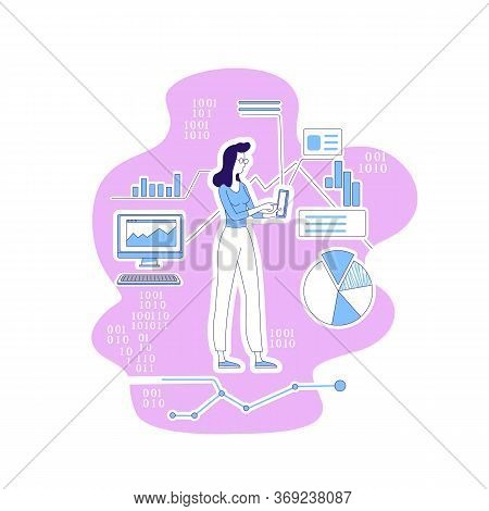 Data Scientist Thin Line Concept Vector Illustration. Female It Information Analyst, Woman With Gadg