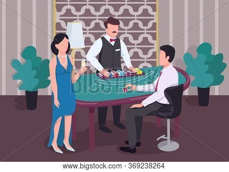 Casino Flat Color Vector Illustration. Dealer Count Stack Of Chips. Man At Blackjack Table. Woman Wi