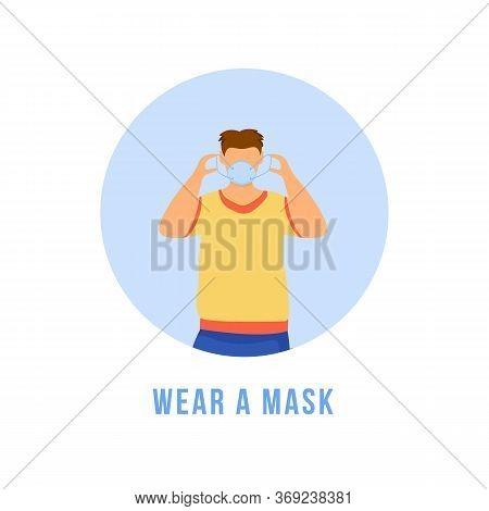 Wear Mask Flat Detailed Icon. Avoid Virus Transmission. Respiratory Protection. Healthcare Precautio