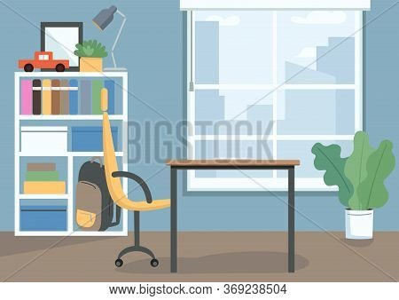 Childrens Bedroom Flat Color Vector Illustration. Kids Room With Books And Toys On Shelves. Desk And