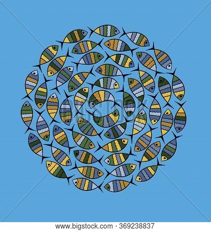 Vector Illustration Blue Color Background Funny Fish