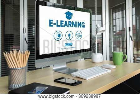 E-learning And Online Education For Student And University Concept. Video Conference Call Technology