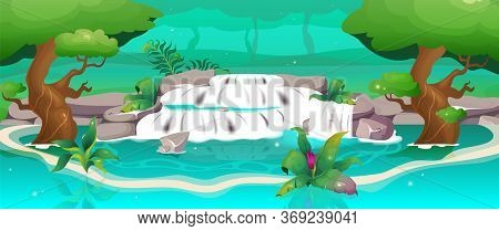 Jungle Flat Color Vector Illustration. Waterfall In Oasis. Exotic Forest. Travel To Relax Near Water