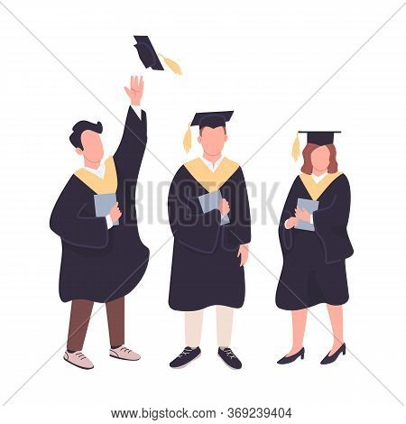 Happy Graduates Flat Color Vector Faceless Characters Set. College Students Holding Bachelor Diploma