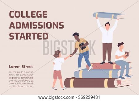 College Admissions Started Banner Flat Vector Template. University Brochure, Poster Concept Design W