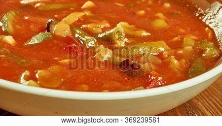 Sicilian Tomato Soup Sicilian Pappa Al Pomodoro, With Crusty Rustic Bread, Tomatoes, Garlic, Onions,