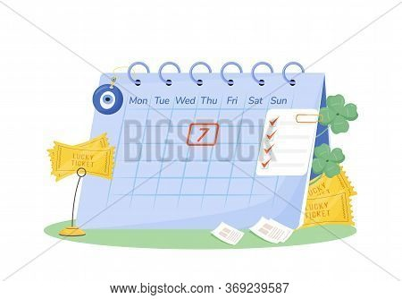 Tuesday 7th Flat Concept Vector Illustration. Calendar With Lucky Tickets And Fortune Talismans 2d C