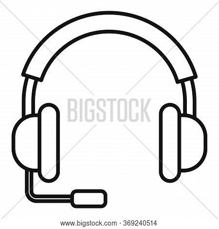 Lesson Headset Icon. Outline Lesson Headset Vector Icon For Web Design Isolated On White Background